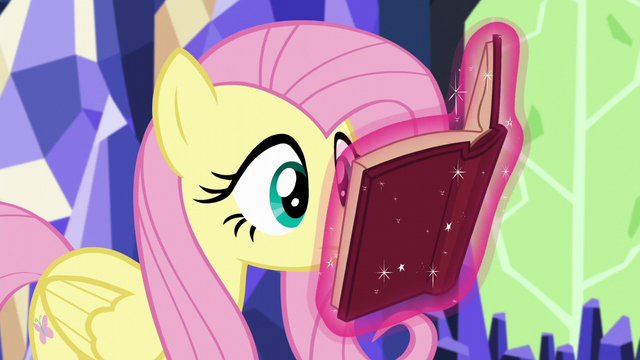 File:Fluttershy looking at Twilight's levitating book S5E23.png