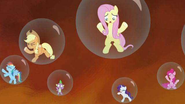File:Main cast shouting at Twilight S4E26.png