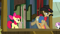 Sheriff Silverstar galloping out of his office S5E6.png