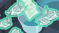 Starlight levitates lesson cards out of her wastebin S6E21