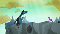 Queen Chrysalis leaping over the tower's edge S6E26