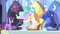 Twilight's seat next to Celestia S4E24