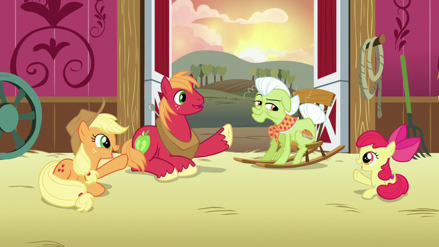 File:AJ, Apple Bloom, and Big Mac point at Granny S6E23.png
