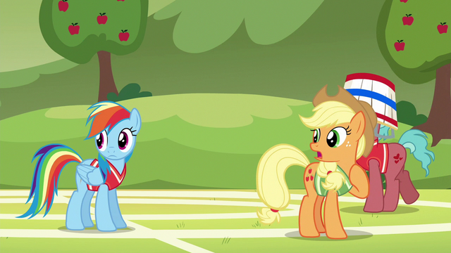 "File:Applejack ""where did Pinkie Pie learn to buck like that?"" S6E18.png"