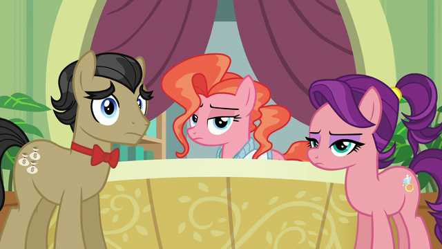 File:Filthy, Spoiled, and receptionist listen to Applejack S6E23.png