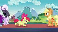 Apple Bloom runs up to Applejack S5E24