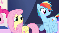 Fluttershy and Rainbow look at Spike S5E1