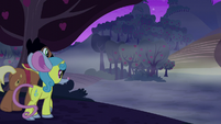 Meadow Song and Lemon Hearts approach the corn maze S5E21