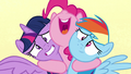 Pinkie Pie hugging Twilight and Rainbow S7E14.png