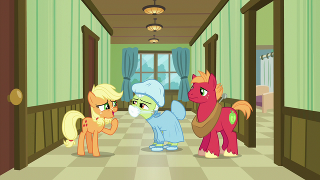 "File:Young Applejack ""just wait here one second"" S6E23.png"