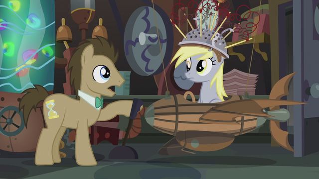 File:Dr. Hooves talking while Derpy is brought down to the floor S5E9.png