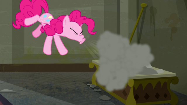 File:Pinkie sneezes, blowing the dust to the air S6E9.png