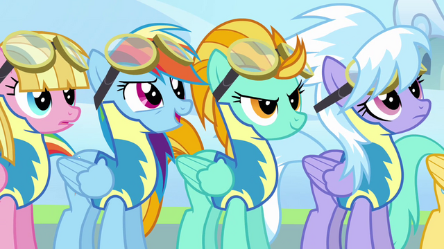 File:Rainbow and Lightning Dust confident S3E7.png