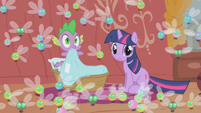 File:Twilight and Spike surrounded by parasprites S1E10.png