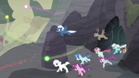 Village ponies gallop out of the cave S5E2