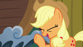 Applejack having a pleased laugh S6E20.png