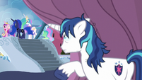 Shining Armor watching from behind a curtain S6E1