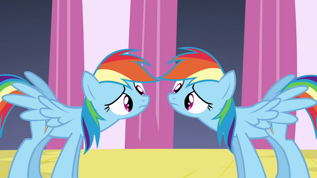 File:Rainbow Dash and clone mirroring each other S2E26.png