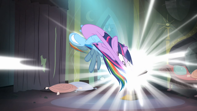 File:Rainbow trying to pull Twilight out of the comic book S4E06.png