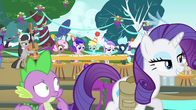 File:Rarity and Spike leaving the party S4E23.png