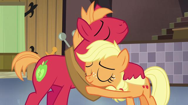 File:Young Applejack and Big McIntosh hugging S6E23.png