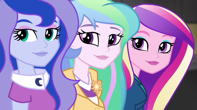 File:Celestia, Luna, and Cadance look at Wondercolts EG3.png