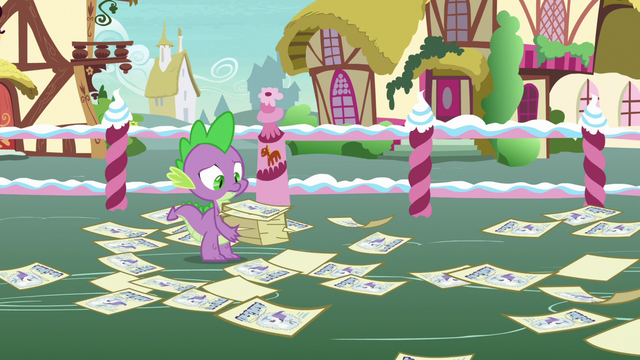 File:Spike surrounded by scattered contest flyers S7E9.png