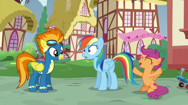 File:Scootaloo cheering for Rainbow Dash S6E7.png