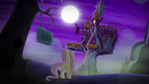 Fluttershy looking to the left of the castle S5E21