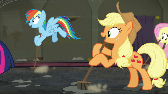 File:Rainbow, Applejack, and Fluttershy sweeps along with Twilight S6E9.png