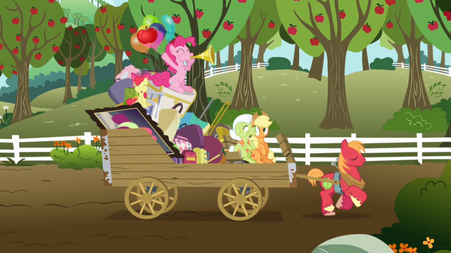 File:The Apple family and Pinkie on the wagon S4E09.png