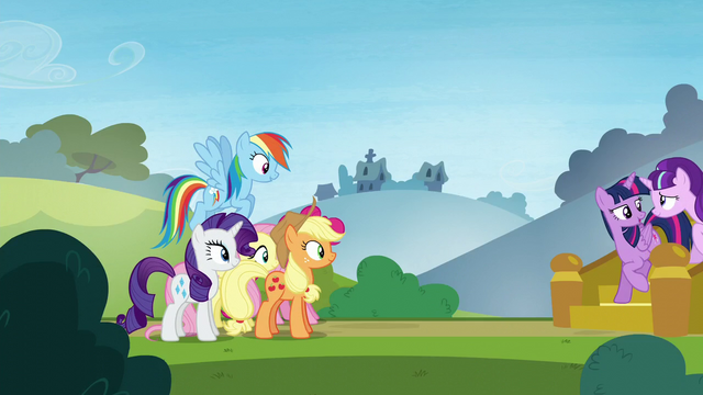 File:The Mane 5 sees Twilight and Starlight walking down the stairs S5E26.png