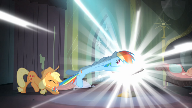 File:Applejack trying to pull Rainbow out of the comic book S4E06.png