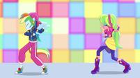 Rainbow Dash and Lemon Zest dance posing EGS1