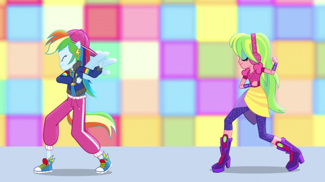 File:Rainbow Dash and Lemon Zest dance posing EGS1.png
