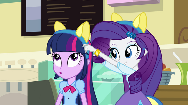 File:Rarity puts pony ears on Twilight EG.png