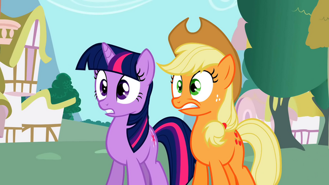 File:Twilight and Applejack in empty Ponyville S02E06.png