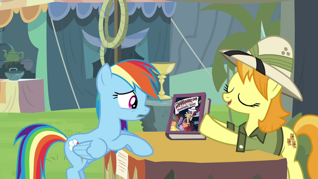 "File:Daring Do collector ""we got a fair deal?"" S4E22.png"
