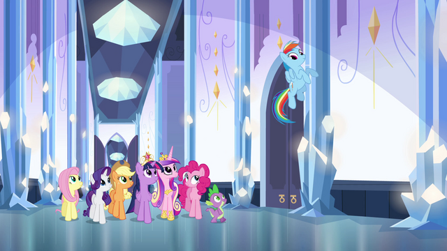 File:Main cast and Cadance walking in the palace EG.png