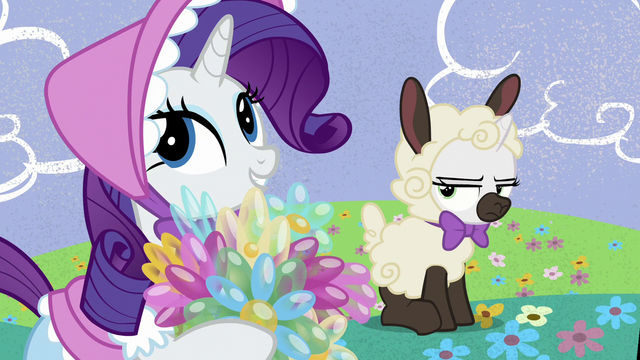 File:Rarity and Sweetie dressed as Little Bo Peep and sheep S7E6.png