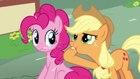 Applejack whistles to Fluttershy and Rainbow S6E11