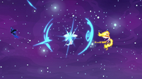 Celestia teleports between Nightmare Moon and Daybreaker S7E10