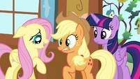 "Fluttershy tells AJ ""watch your step"" S4E16"