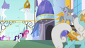 Pinkie Pie and Rarity enter Canterlot S6E12.png