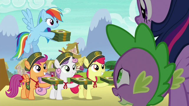 File:Rainbow and CMC offer cookies to Twilight and Spike S6E15.png