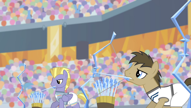 File:Dr. Hooves and unnamed archer firing ice arrows S4E24.png