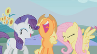 Rarity, Applejack, and Fluttershy laughing S01E07