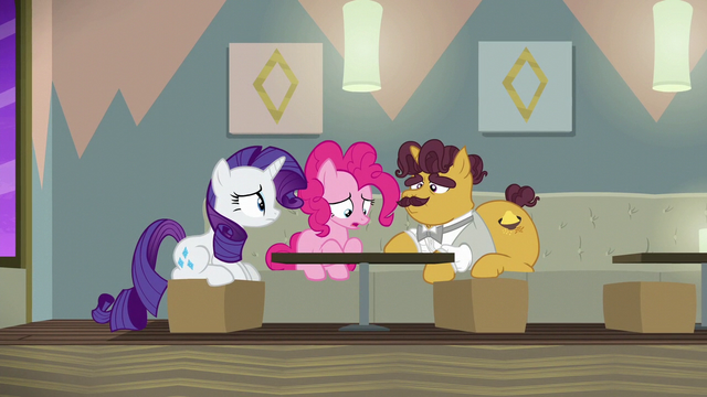 File:Rarity, Pinkie, and Coriander wallowing in failure S6E12.png