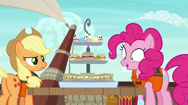 File:Applejack and Pinkie behold Rarity's snacks S6E22.png