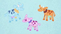 Blue, pink, and orange cows in Pinkie's story S7E11